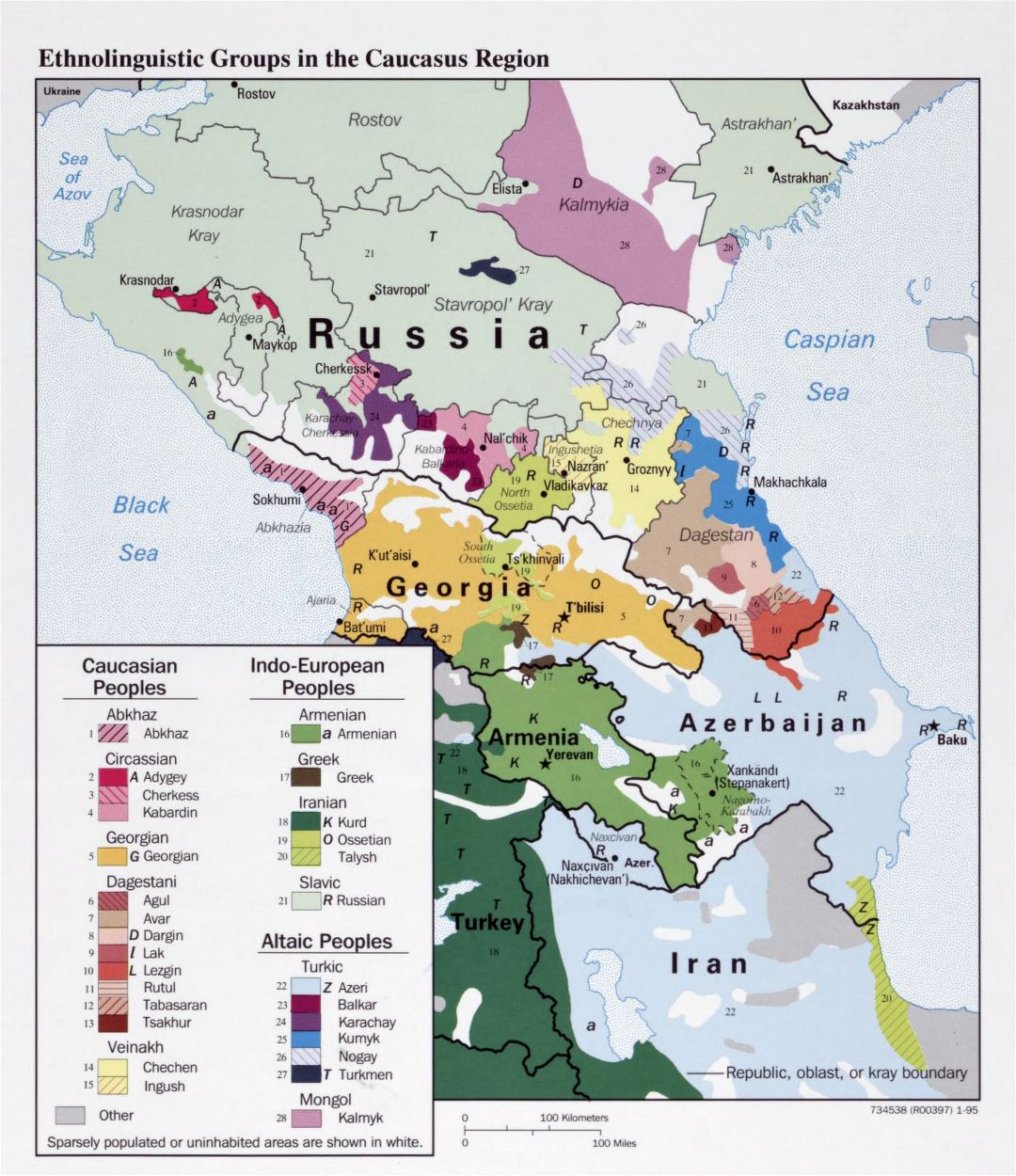 Large detailed map of Ethnolinguistic Groups in the Caucasus Region - 1995