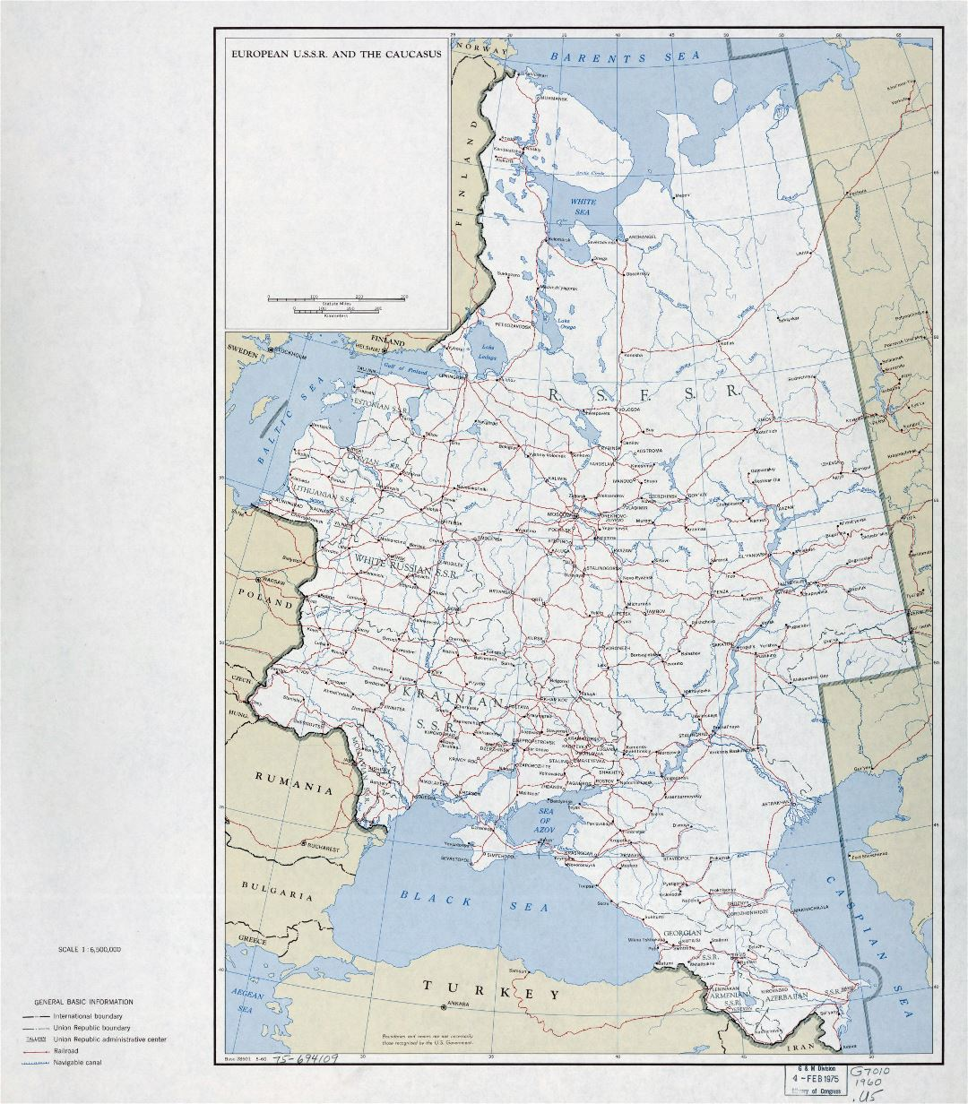 Large detailed political and administrative map of European U.S.S.R. and the Caucasus with roads, railroads and cities - 1960