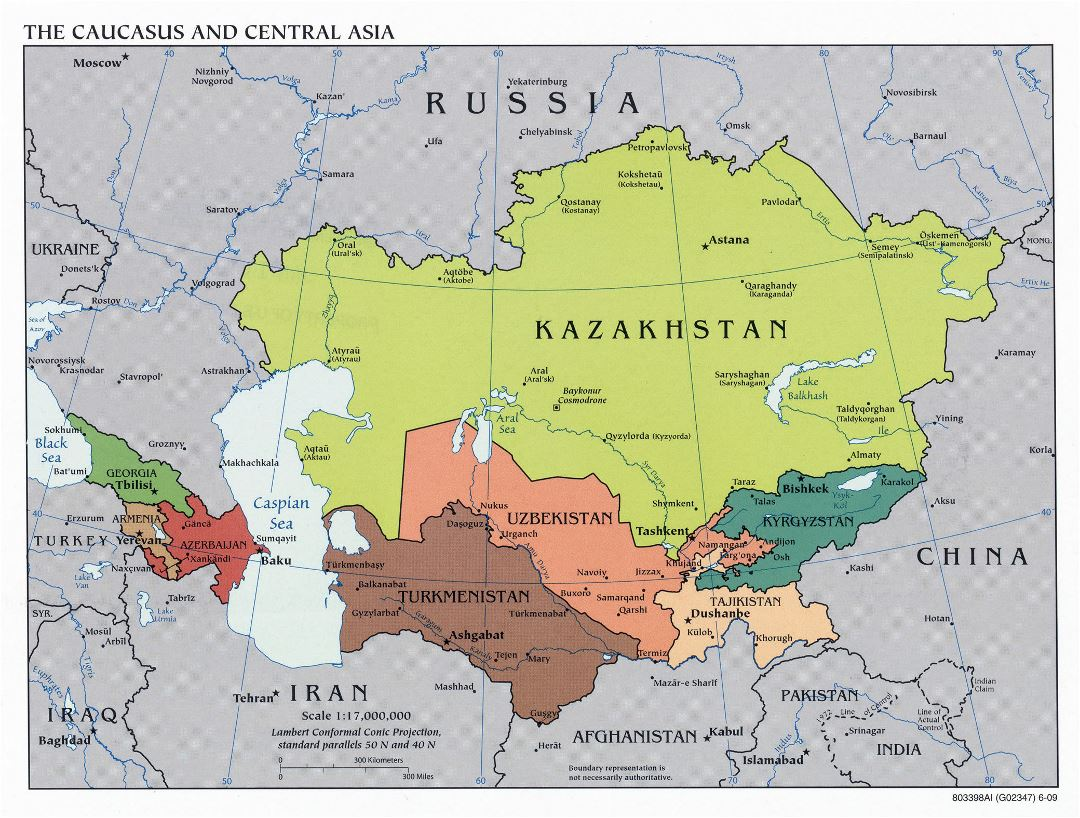 Large political map of the Caucasus and Central Asia - 2009