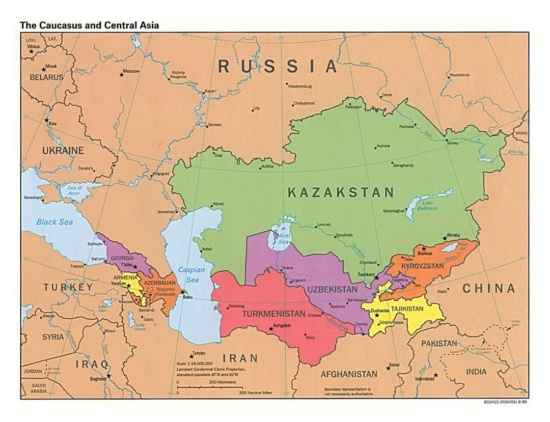 Large political map of the Caucasus and Central Asia with capitals - 1995