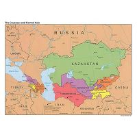 Map Of Asia And Capitals.Large Political Map Of The Caucasus And Central Asia With Capitals