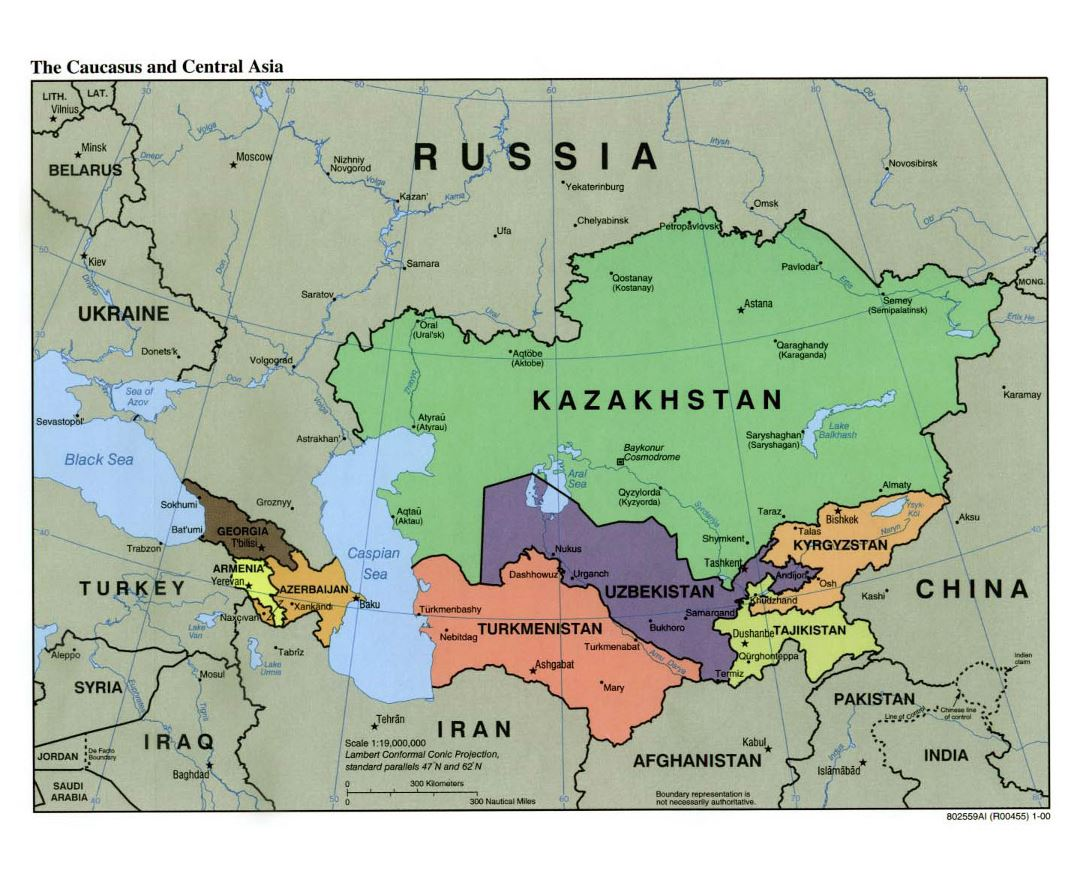 Large political map of the Caucasus and Central Asia with capitals and major cities - 2000