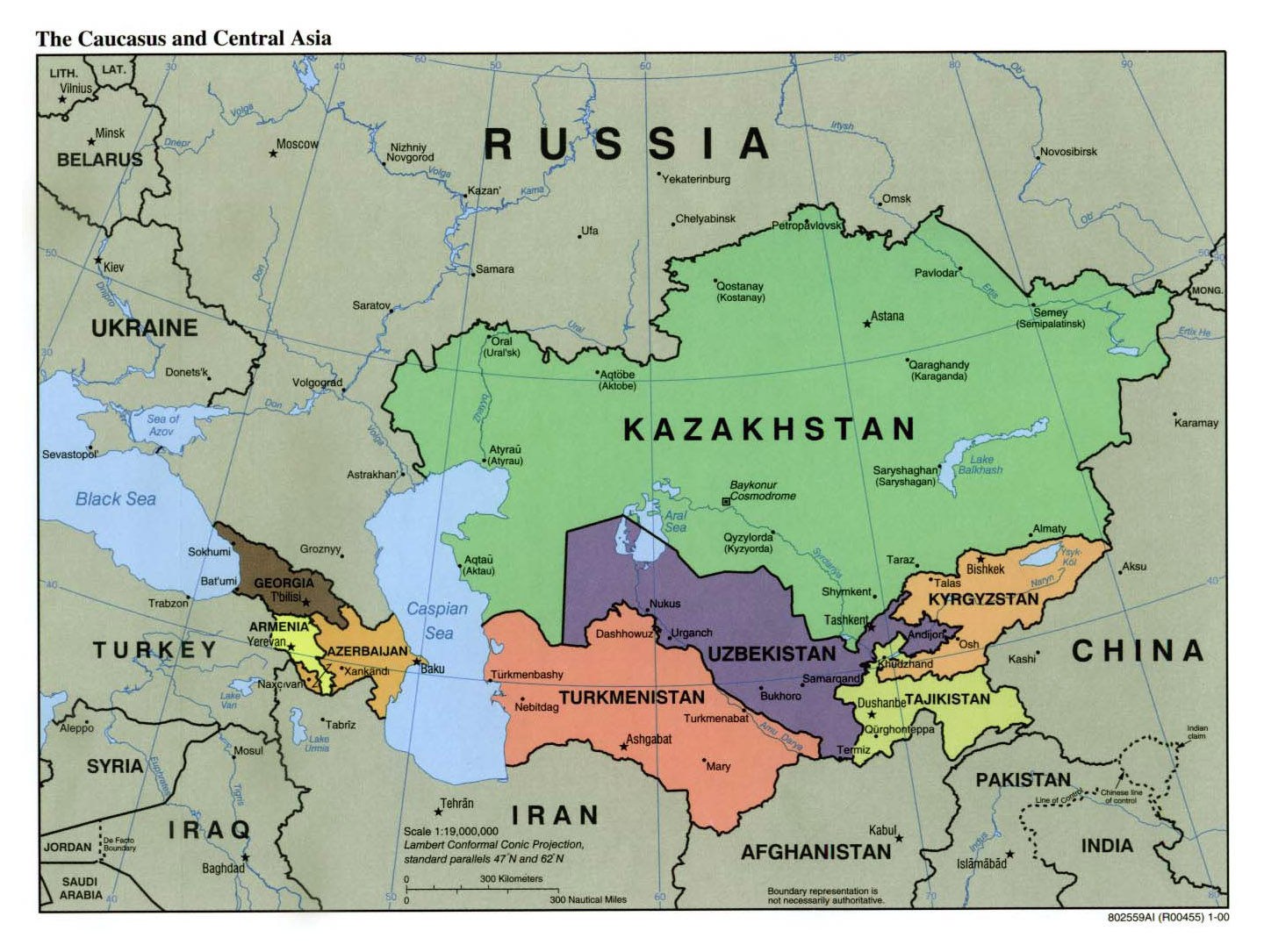 Large Political Map Of The Caucasus And Central Asia With Capitals And  Major Cities   2000