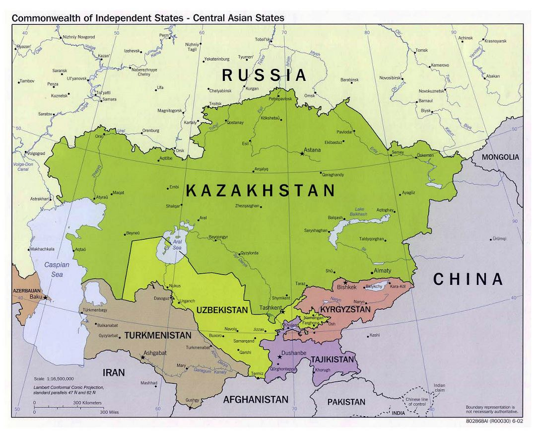 Large political map of Central Asian States - 2002