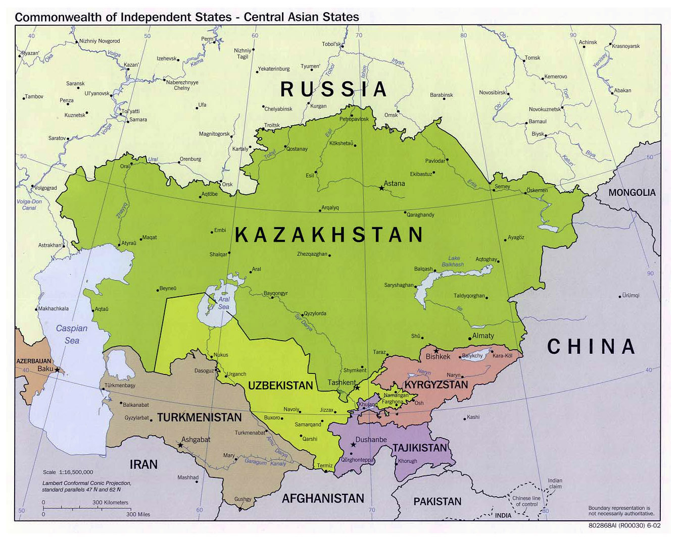 Large political map of Central Asian States - 2002 | Central ...