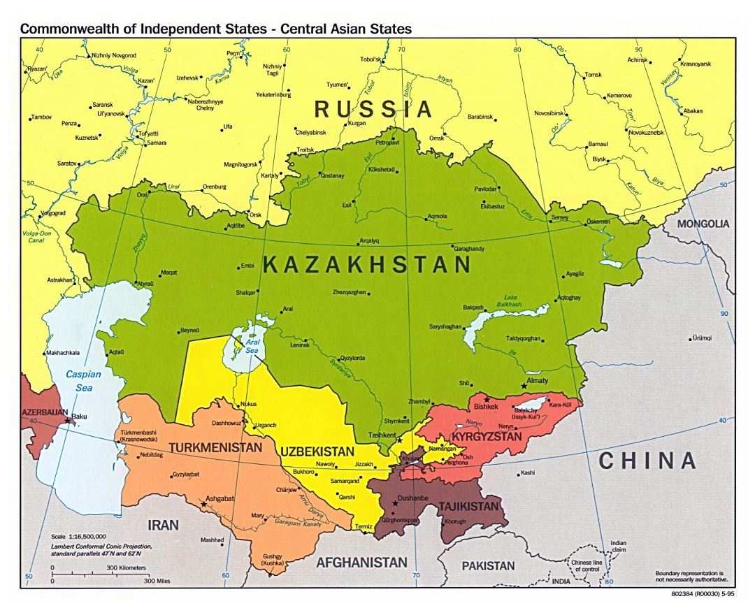 large political map of central asian states with major cities 1995