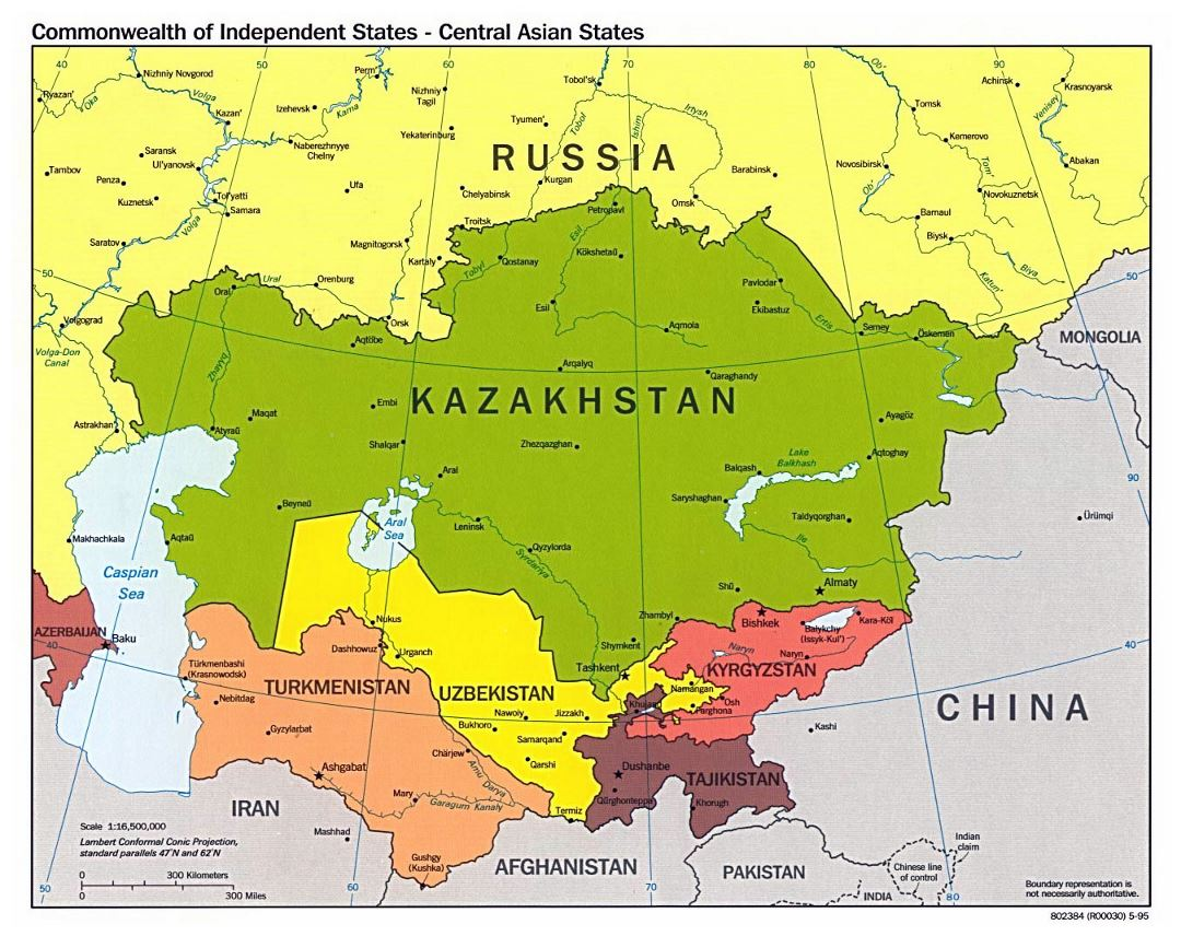 Large political map of Central Asian States with major cities - 1995