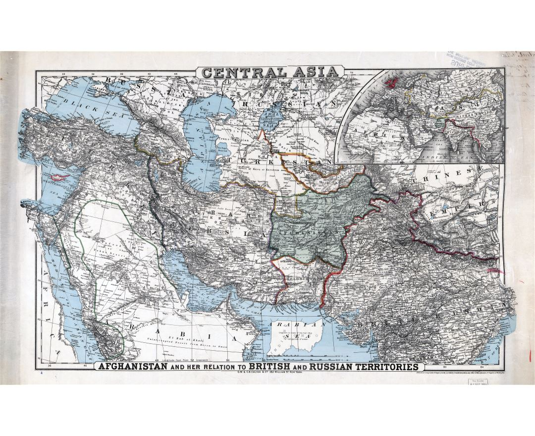 Large scale old map of Central Asia with relief - 1885