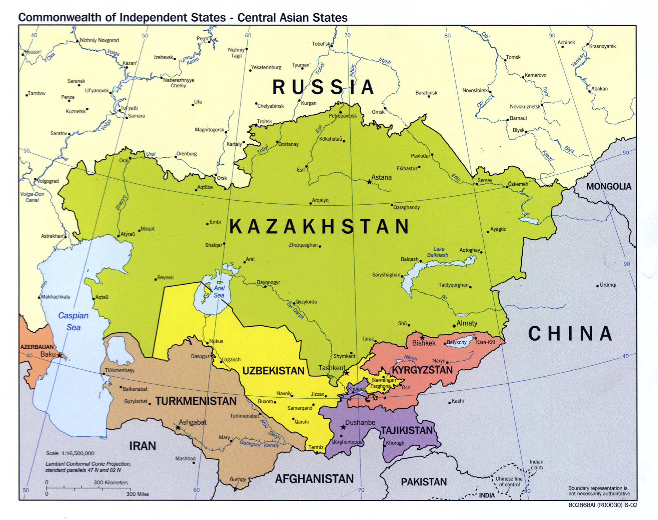 large scale political map of central asian states 2002