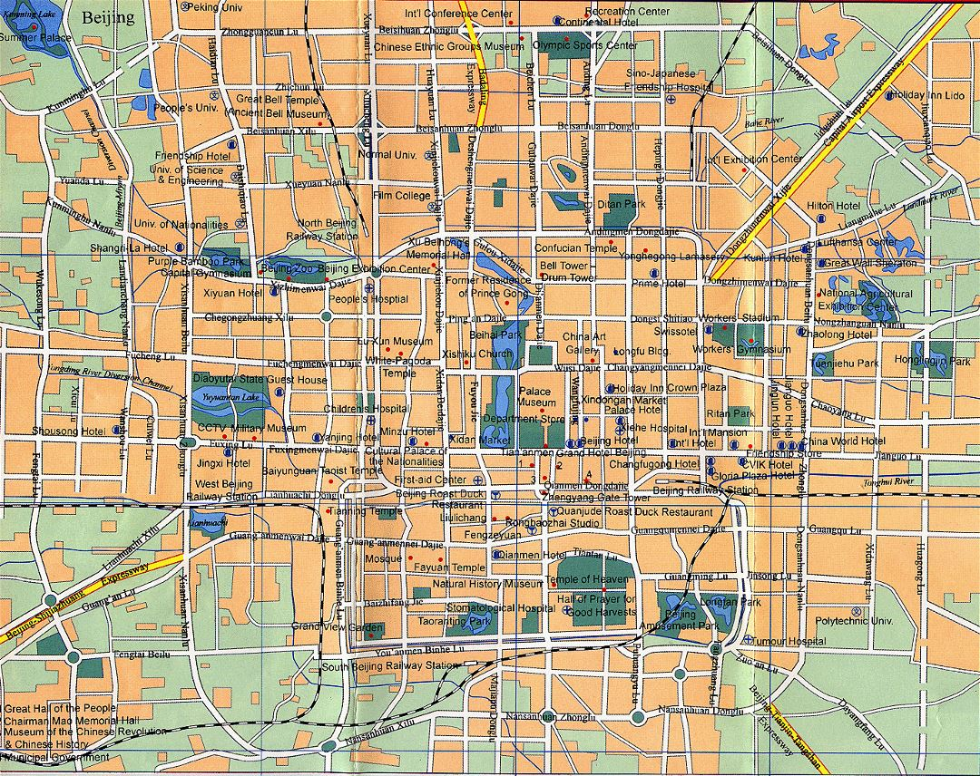 Detailed road map Beijing city