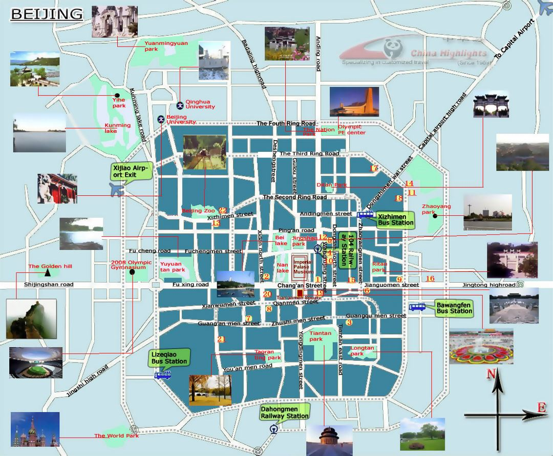 Detailed tourist map of Beijing city