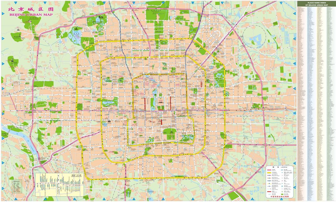 Large scale detailed street map of Beijing city