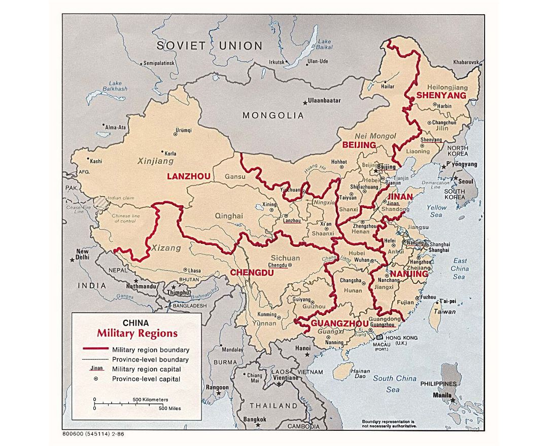 Detailed military regions map of China - 1986