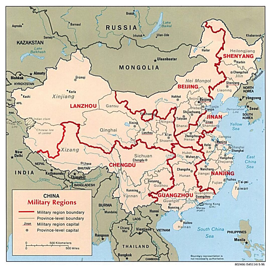 Detailed military regions map of China - 1996