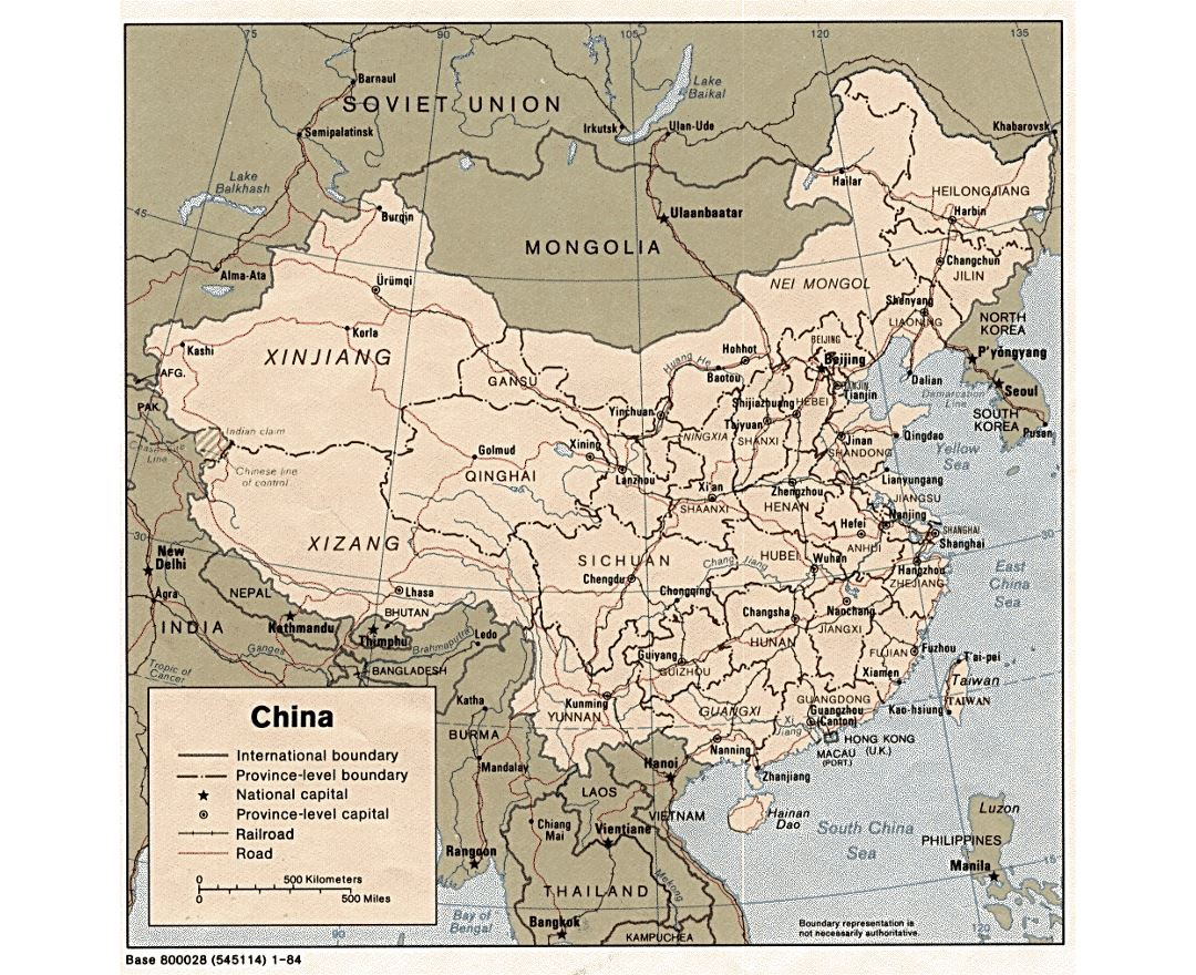 Detailed political and administrative map of China - 1984
