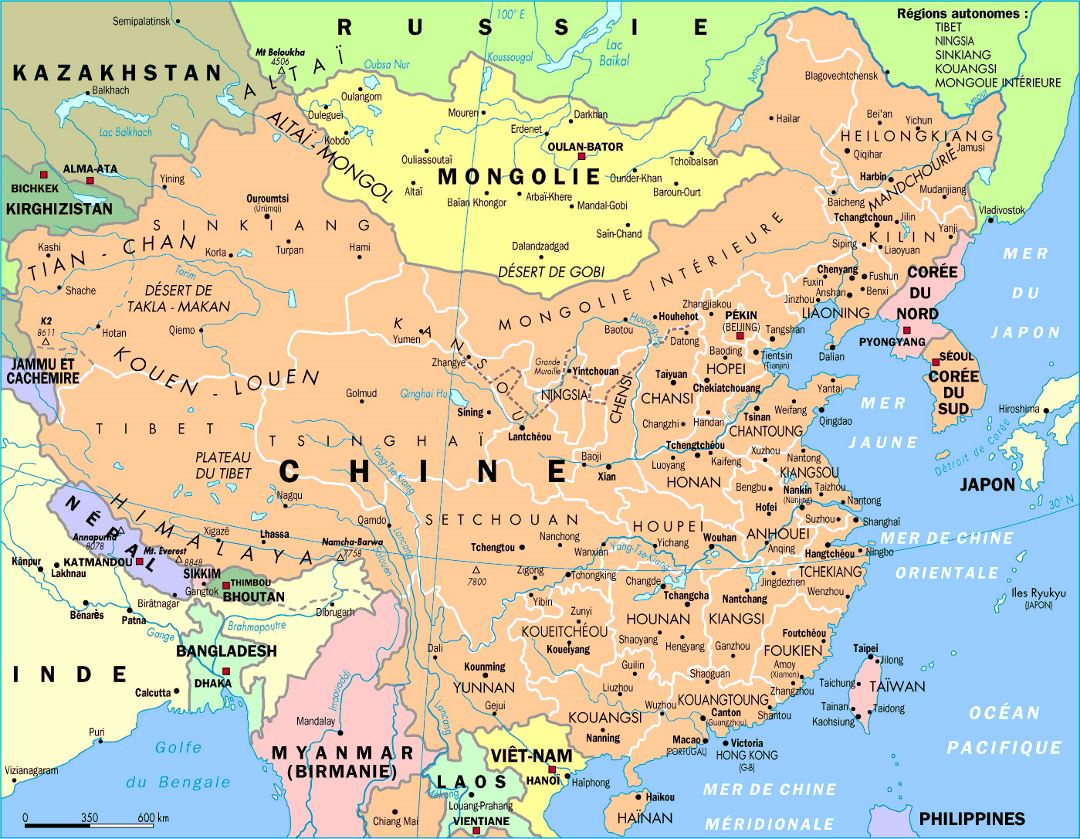 Detailed political and administrative map of China