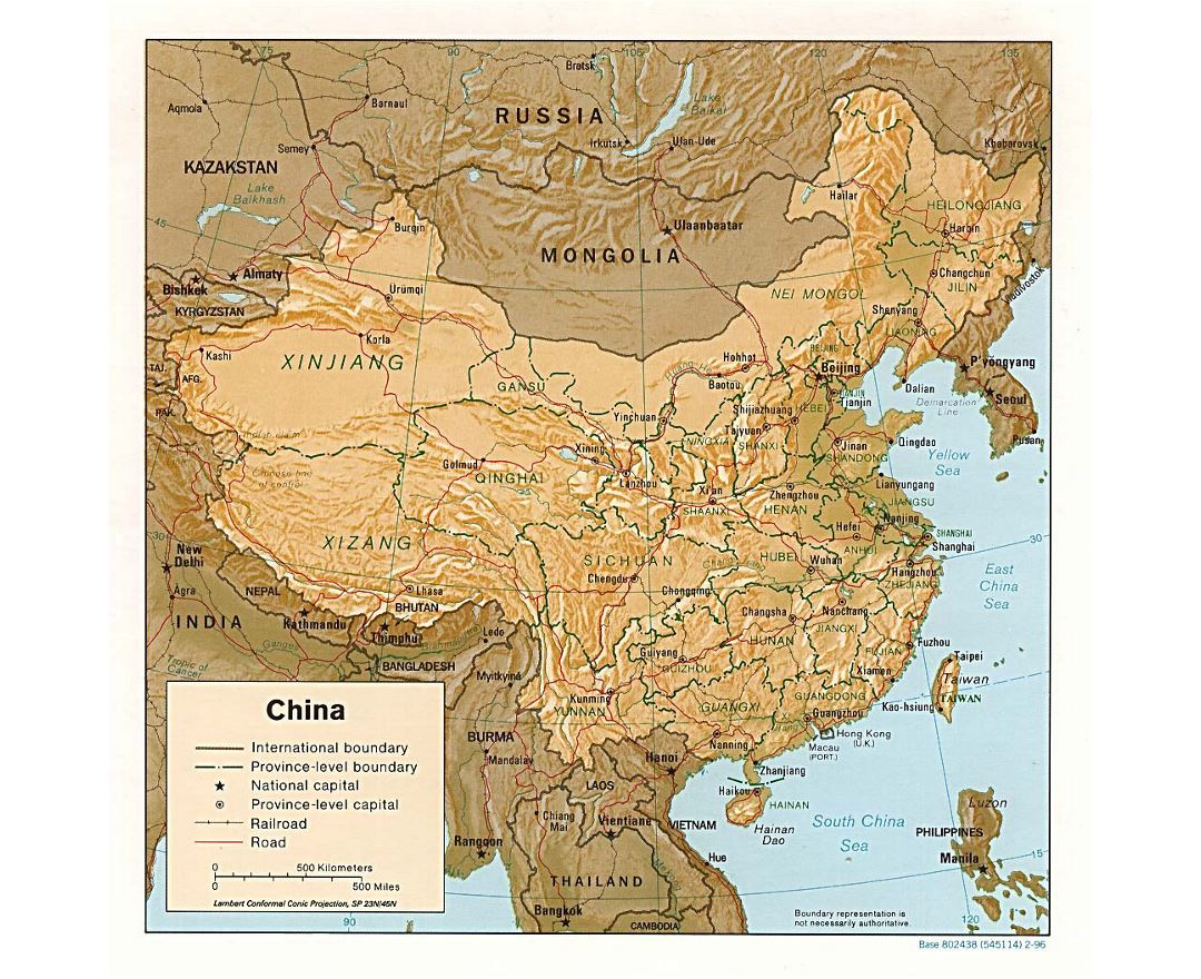 Detailed political and administrative map of China with relief, roads, railroads and major cities - 1996