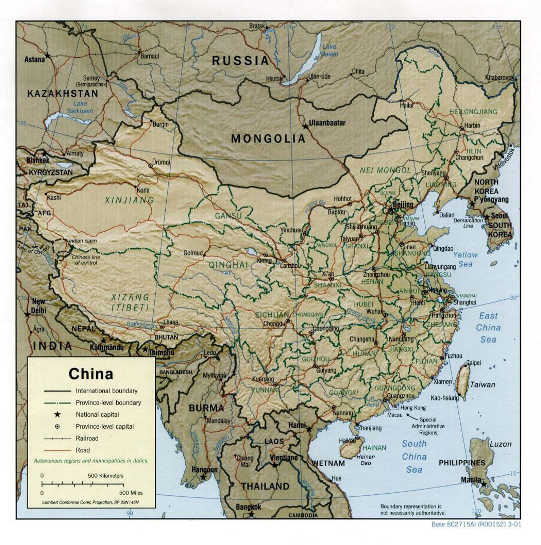 Detailed political and administrative map of China with relief, roads, railroads and major cities - 2001