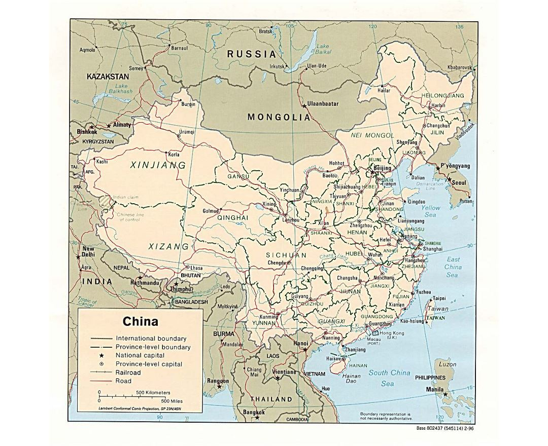 Detailed political and administrative map of China with roads, railroads and major cities - 1996