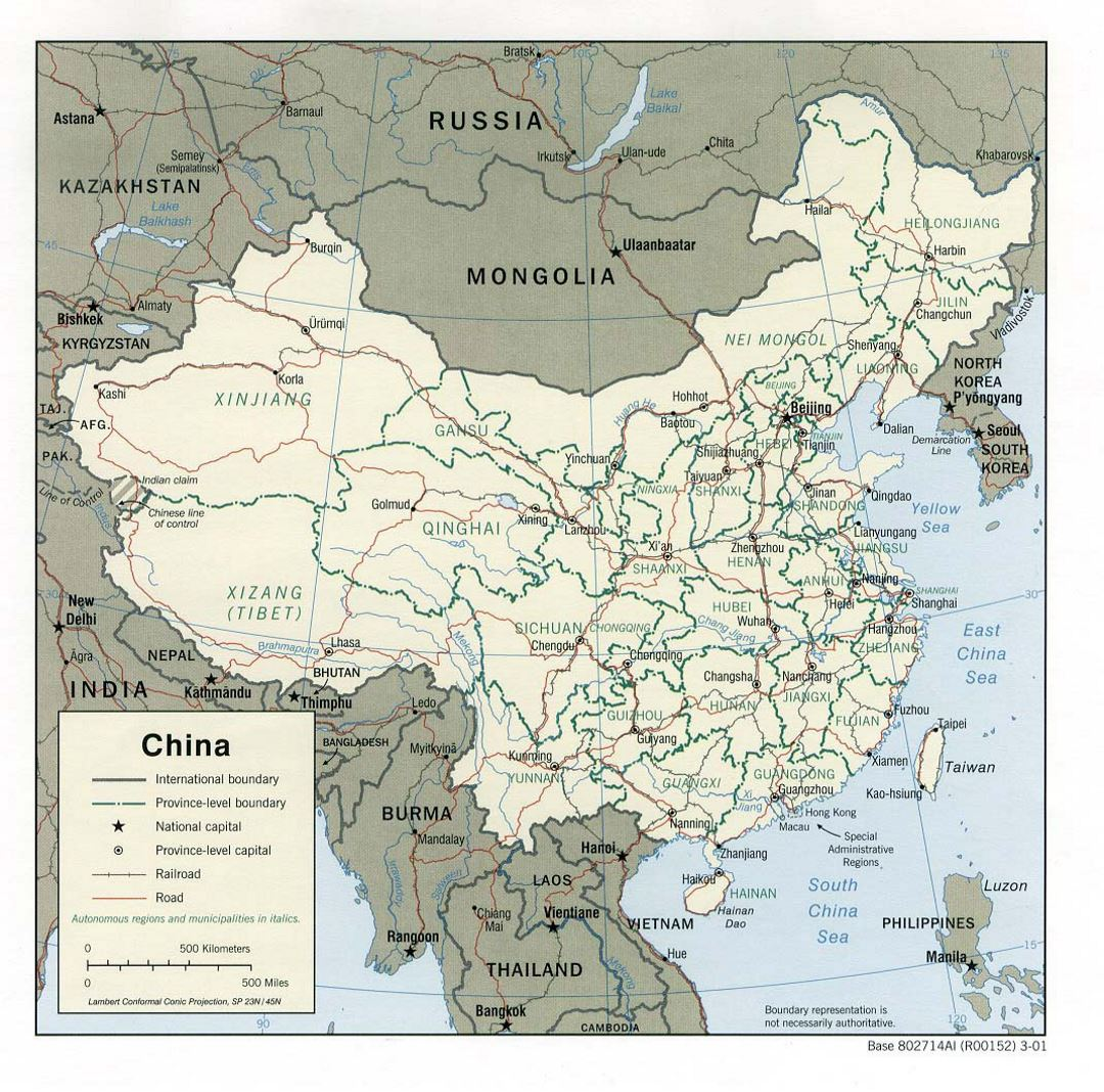 Detailed political and administrative map of China with roads, railroads and major cities - 2001