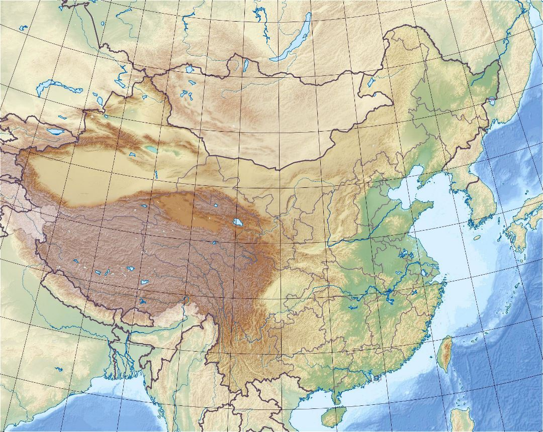 Detailed relief map of China
