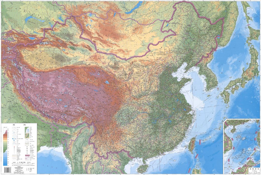 In high resolution detailed physical map of China in chinese