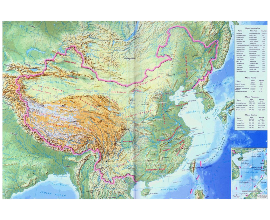 Maps of china detailed map of china in english tourist map large china topographical map in english gumiabroncs Images