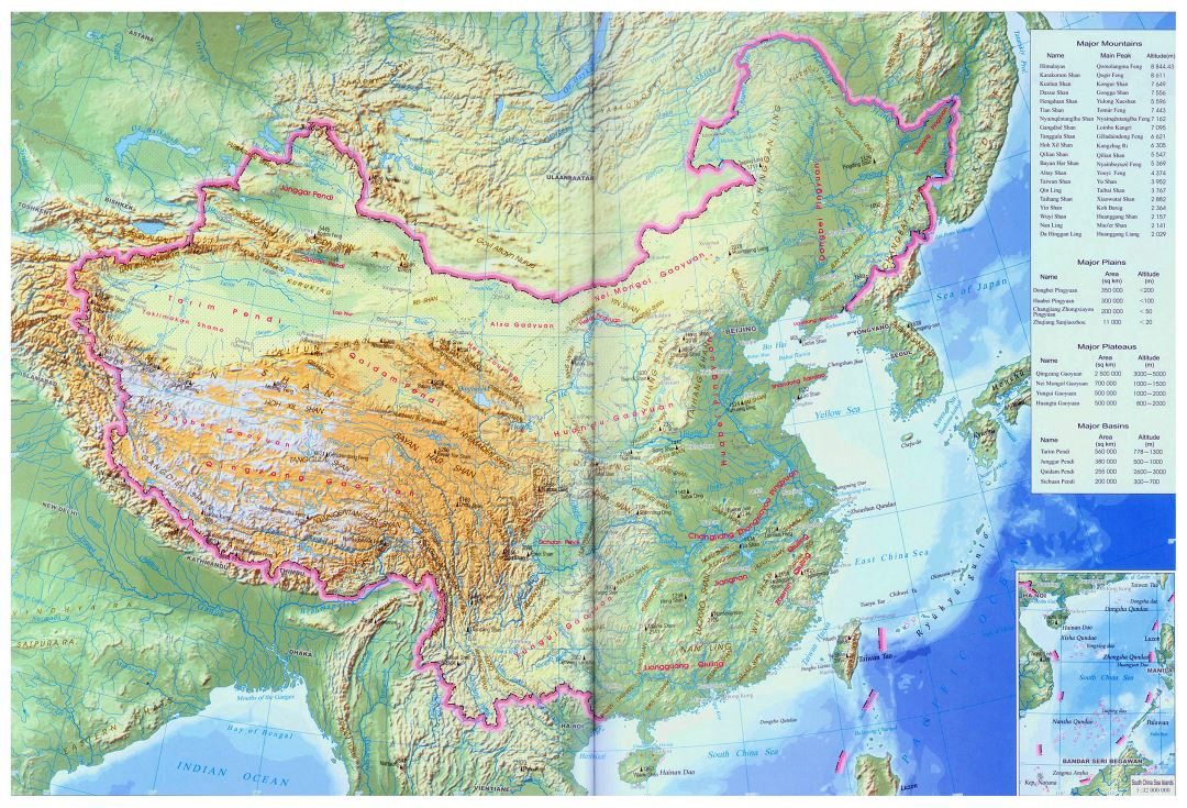 Large China topographical map in english