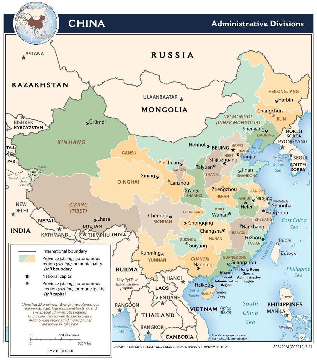 Large detailed administrative divisions map of China - 2011