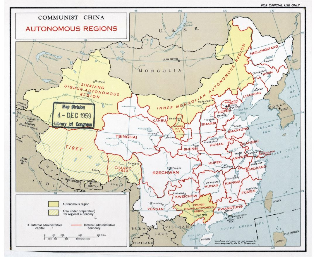 Large detailed autonomous regions map of Communist China - 1959