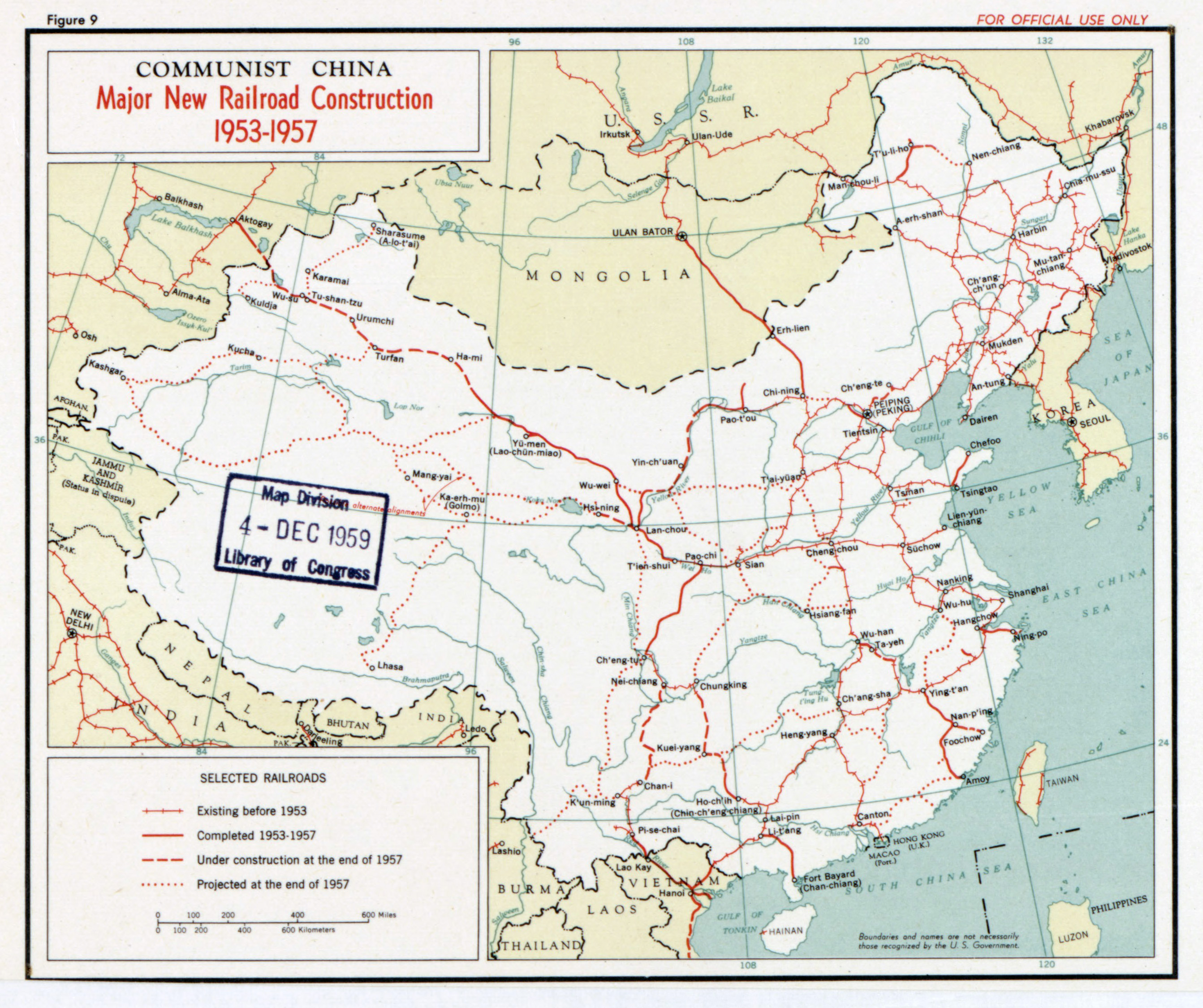 Large detailed major new railroad construction map of communist large detailed major new railroad construction map of communist china 1953 1957 gumiabroncs Gallery