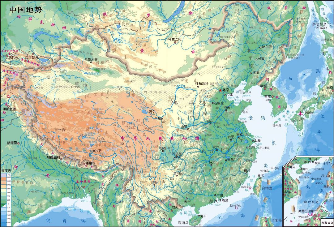 Large detailed physical map of China in chinese
