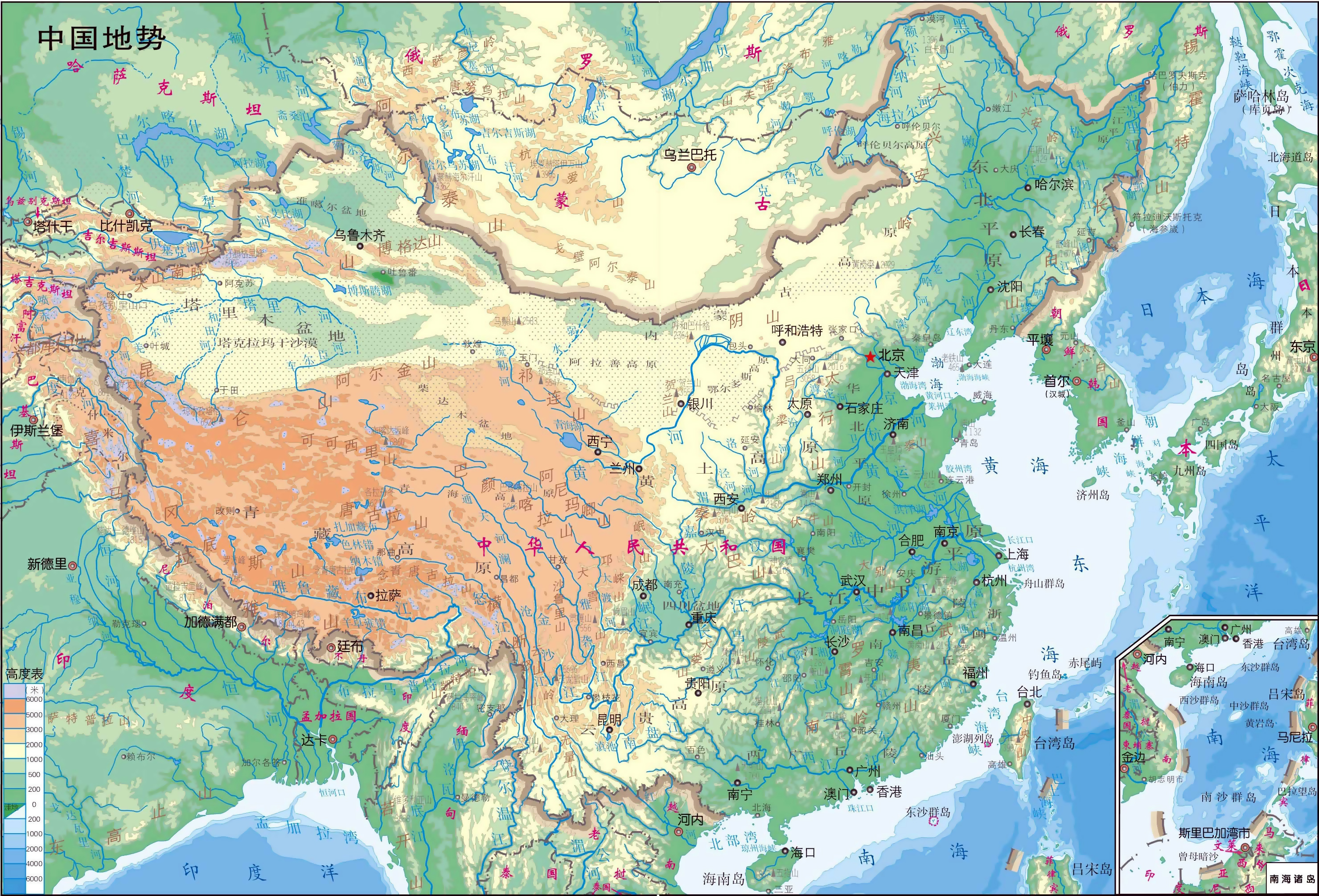 Map Of China In Asia.Large Detailed Physical Map Of China In Chinese China Asia