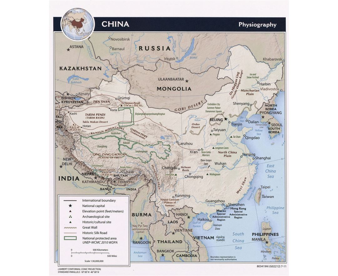 Large detailed physiography map of China - 2011