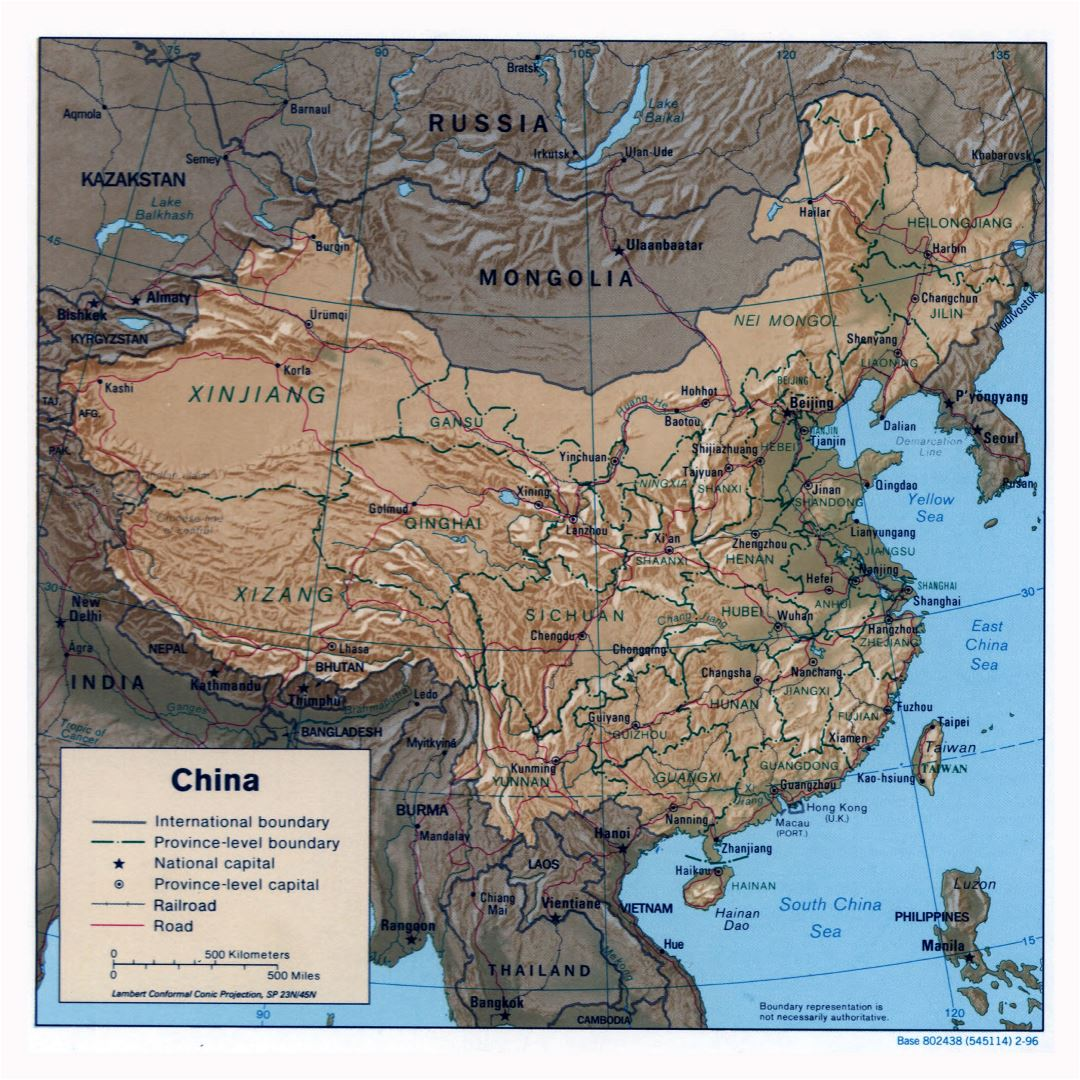 Large detailed political and administrative map of China with relief, roads, railroads and major cities - 1996