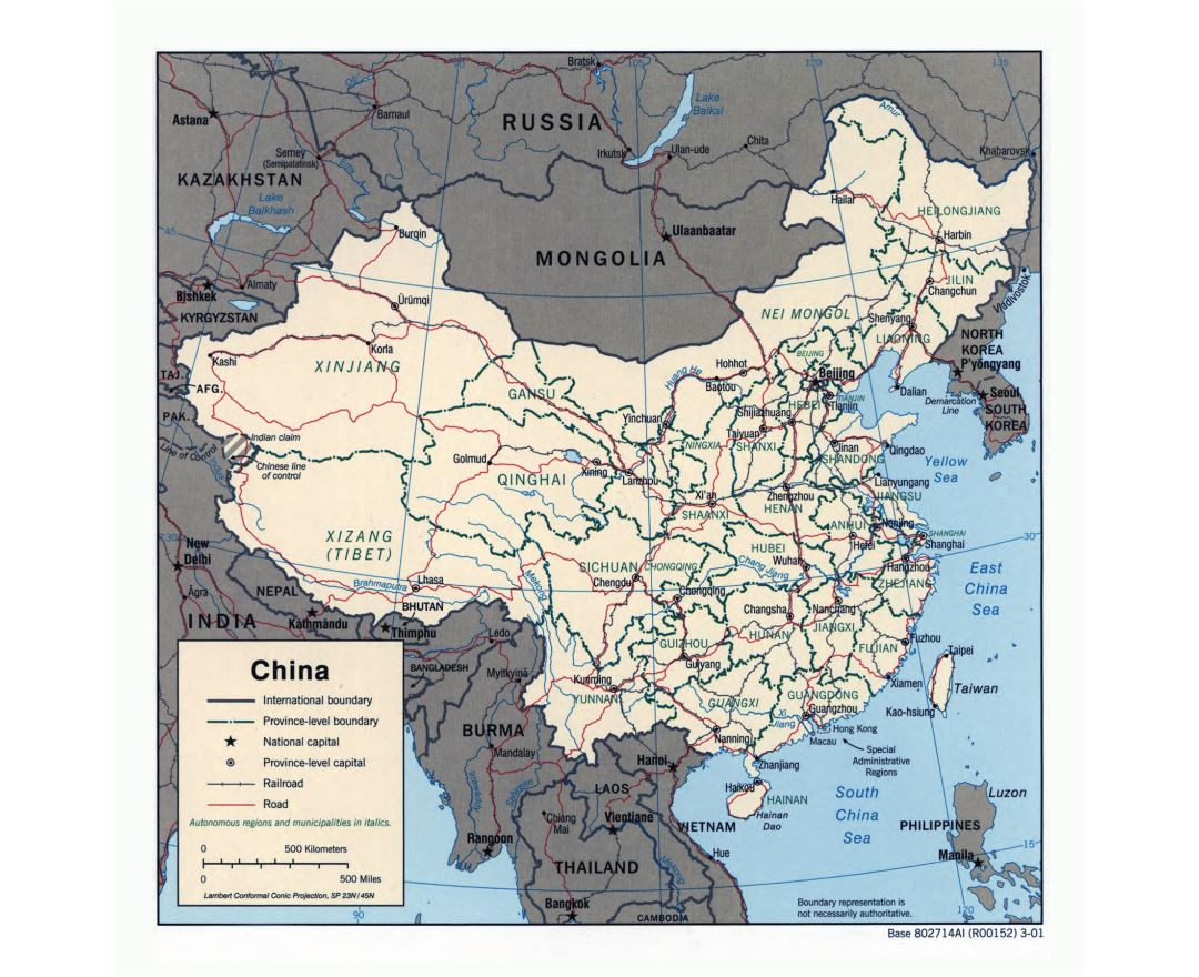 Maps of China Detailed map of China in English Tourist map