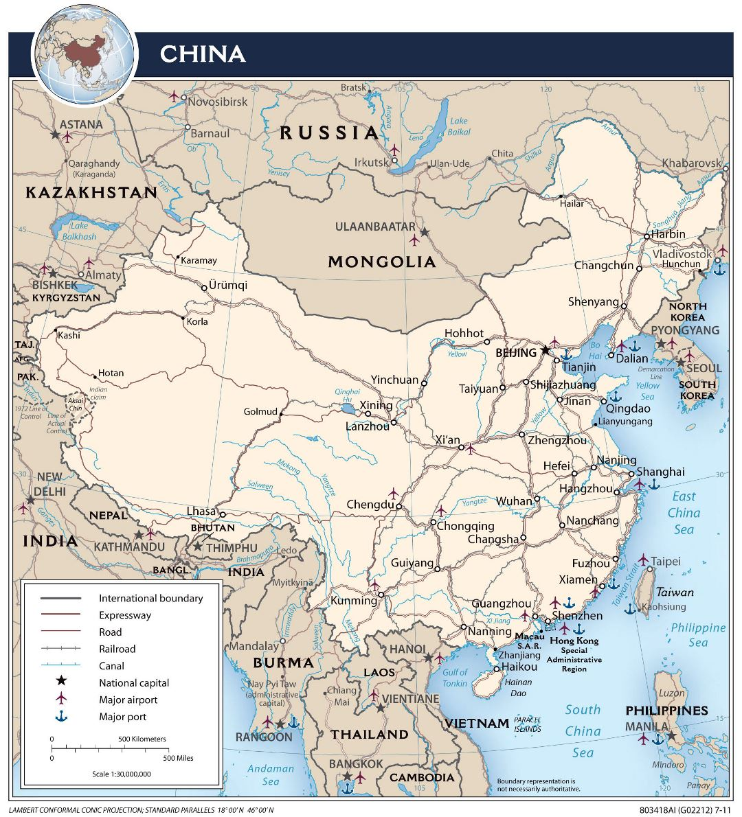 Large detailed political map of China with roads, railroads, major cities, ports, airports and other marks - 2011