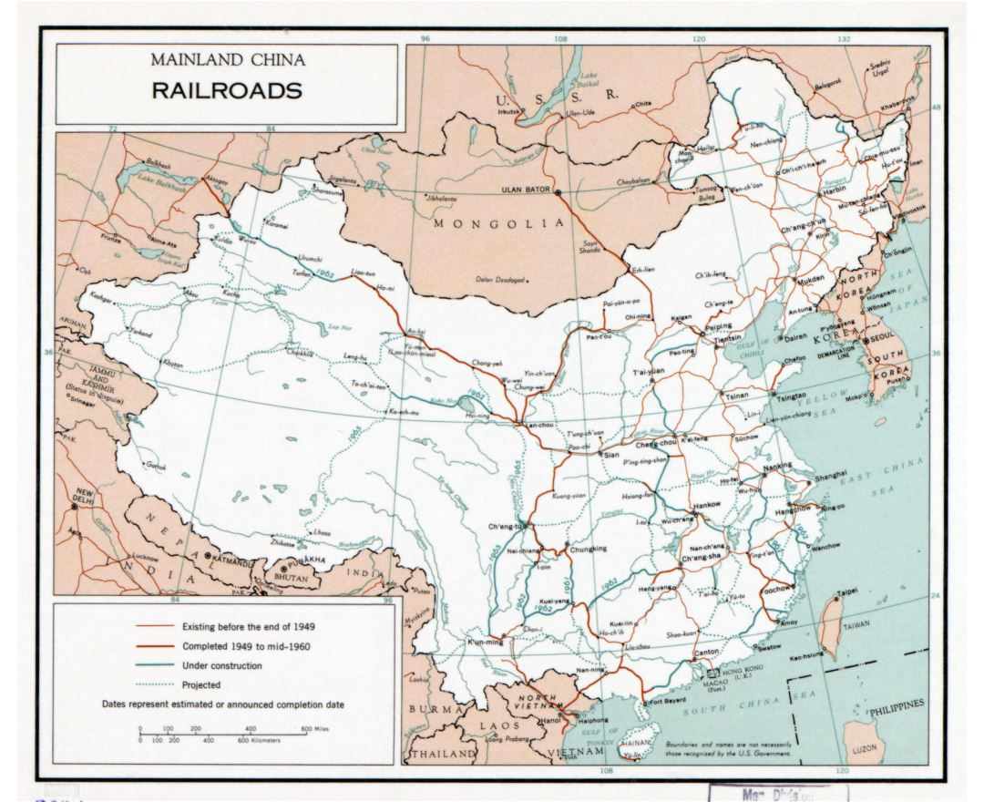 Large detailed railroads map of mainland China - 1960