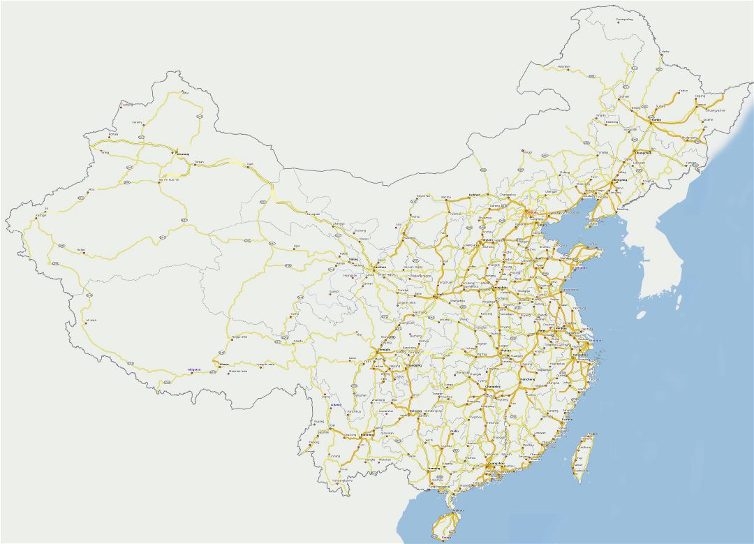 Large detailed road map of China
