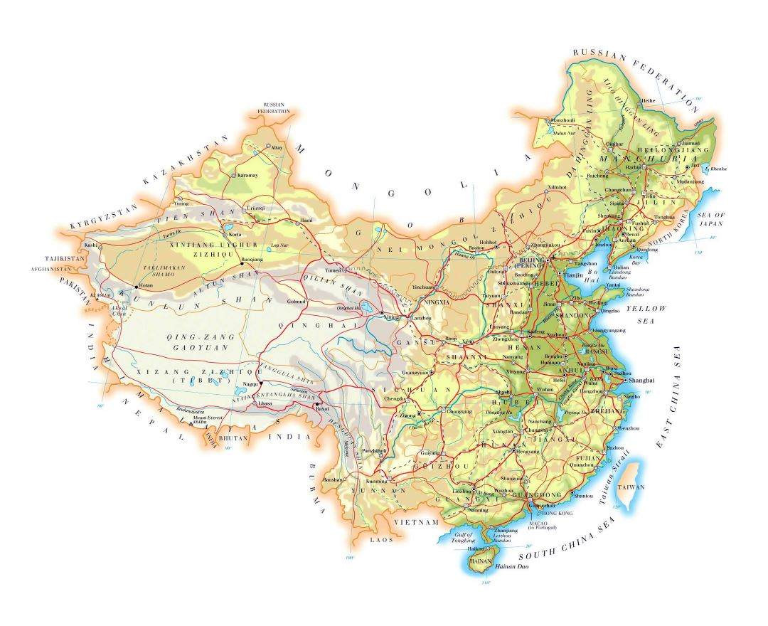 Large elevation map of China with roads, cities and airports