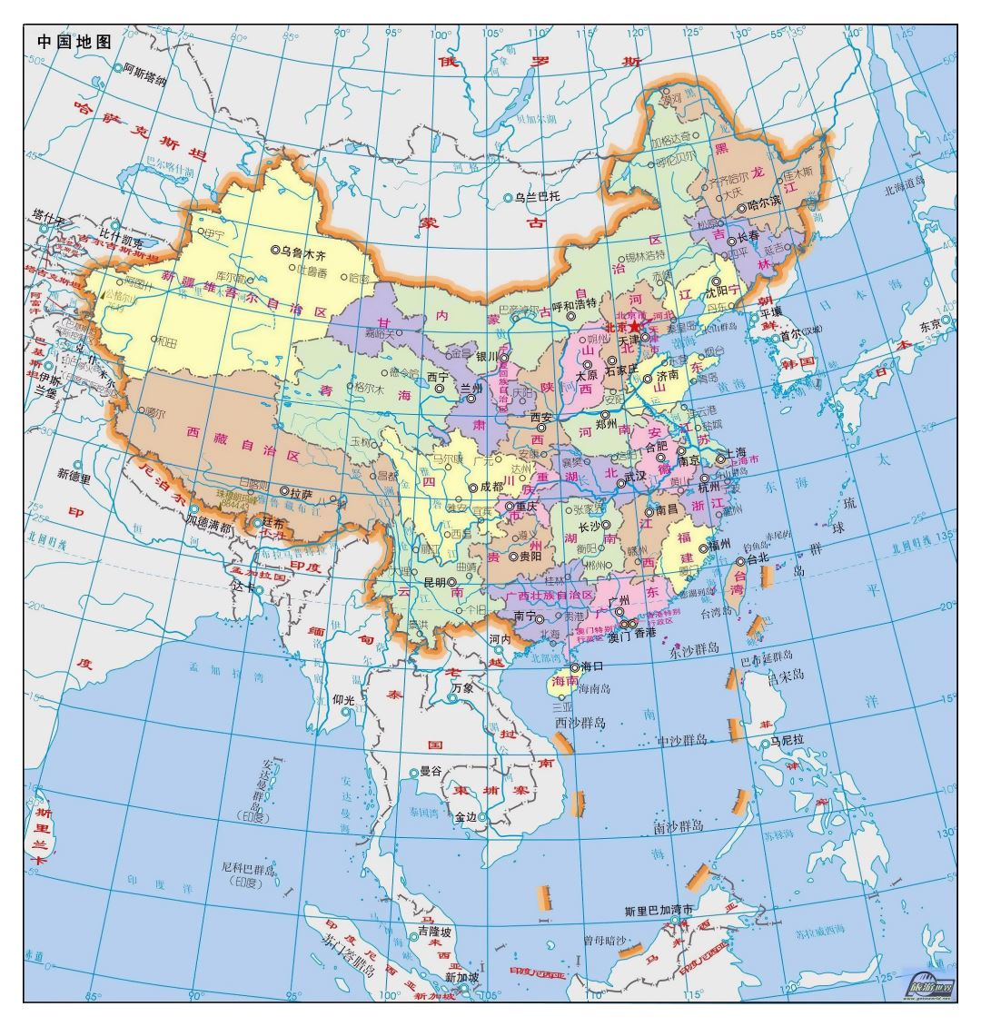 Large political and administrative map of China in chinese