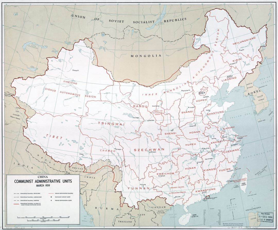 Large scale China Communist Administrative Units map 1959
