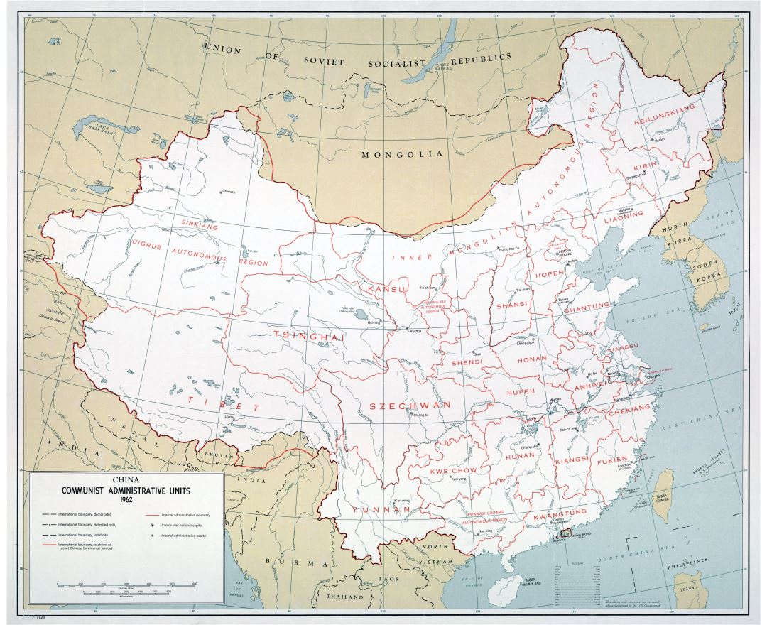 Large scale China Communist Administrative Units map - 1962