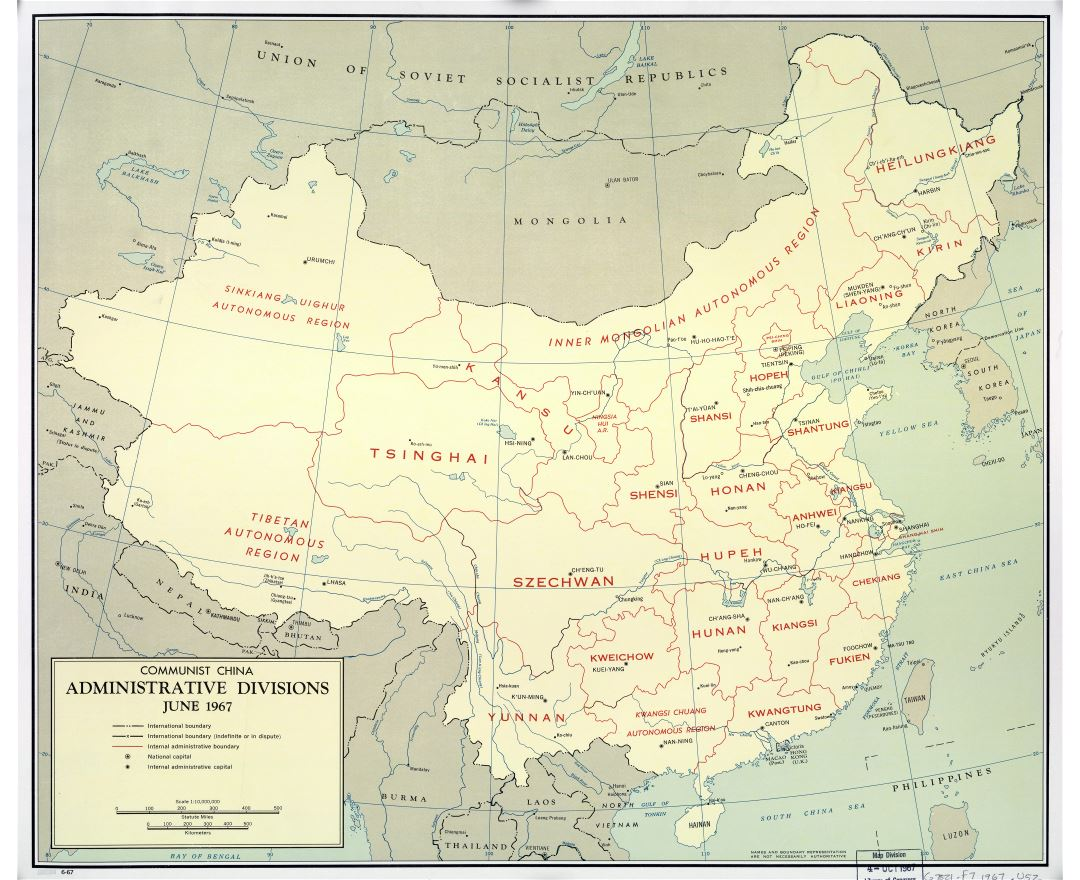 Large scale Communist China administrative divisions map - 1967