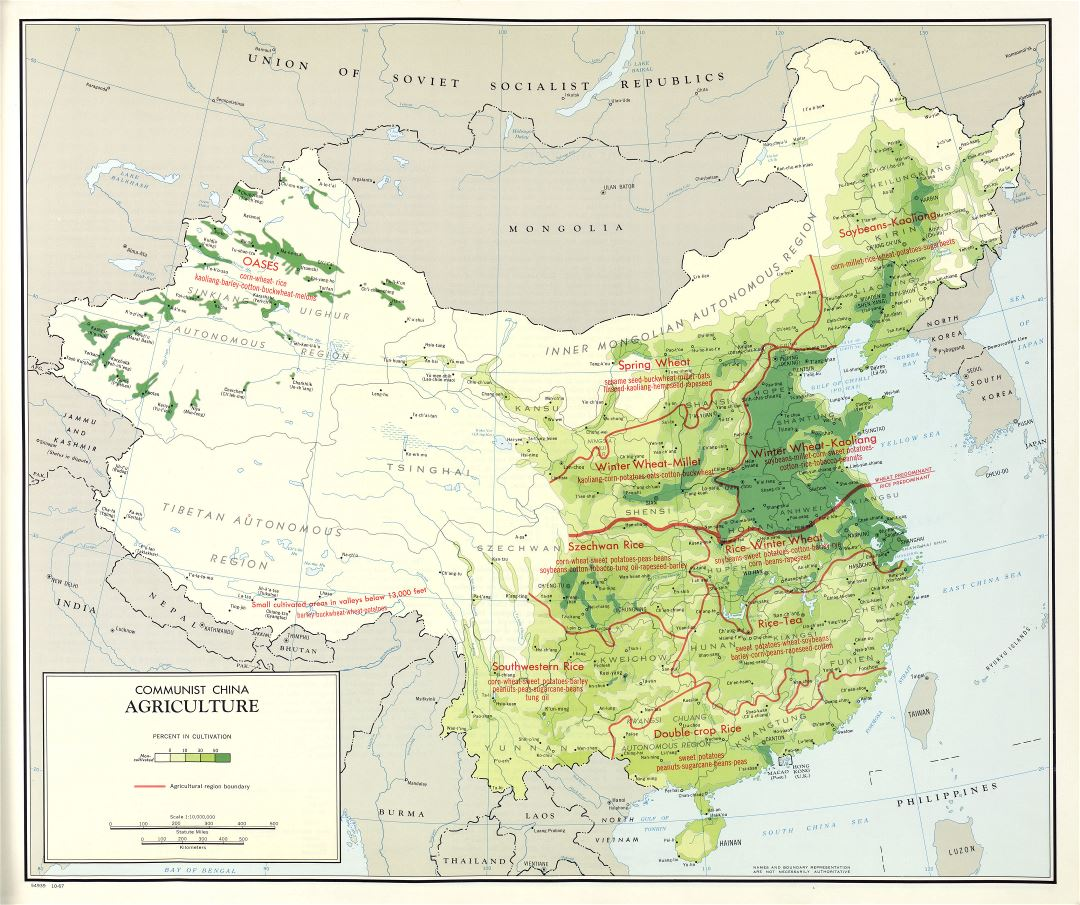 Large scale detailed agriculture map of Communist China - 1967