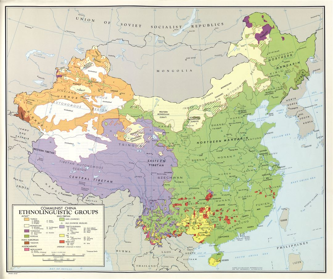 Large scale detailed ethnolinguistic groups map of Communist China - 1967
