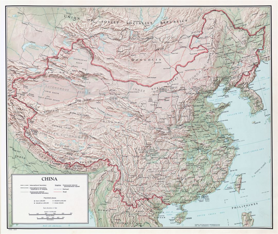 Large scale detailed political and administrative map of China with relief, all cities, roads and railroads - 1967