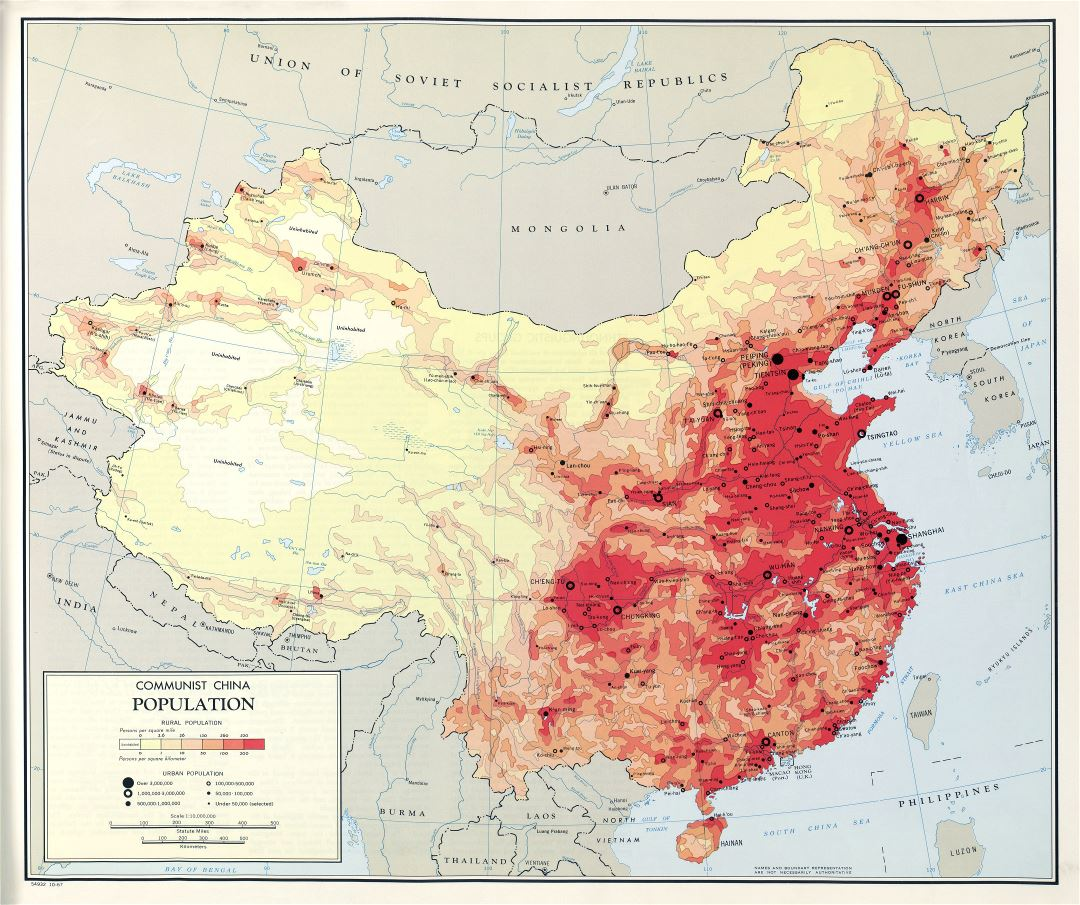 Large scale detailed population map of Communist China - 1967