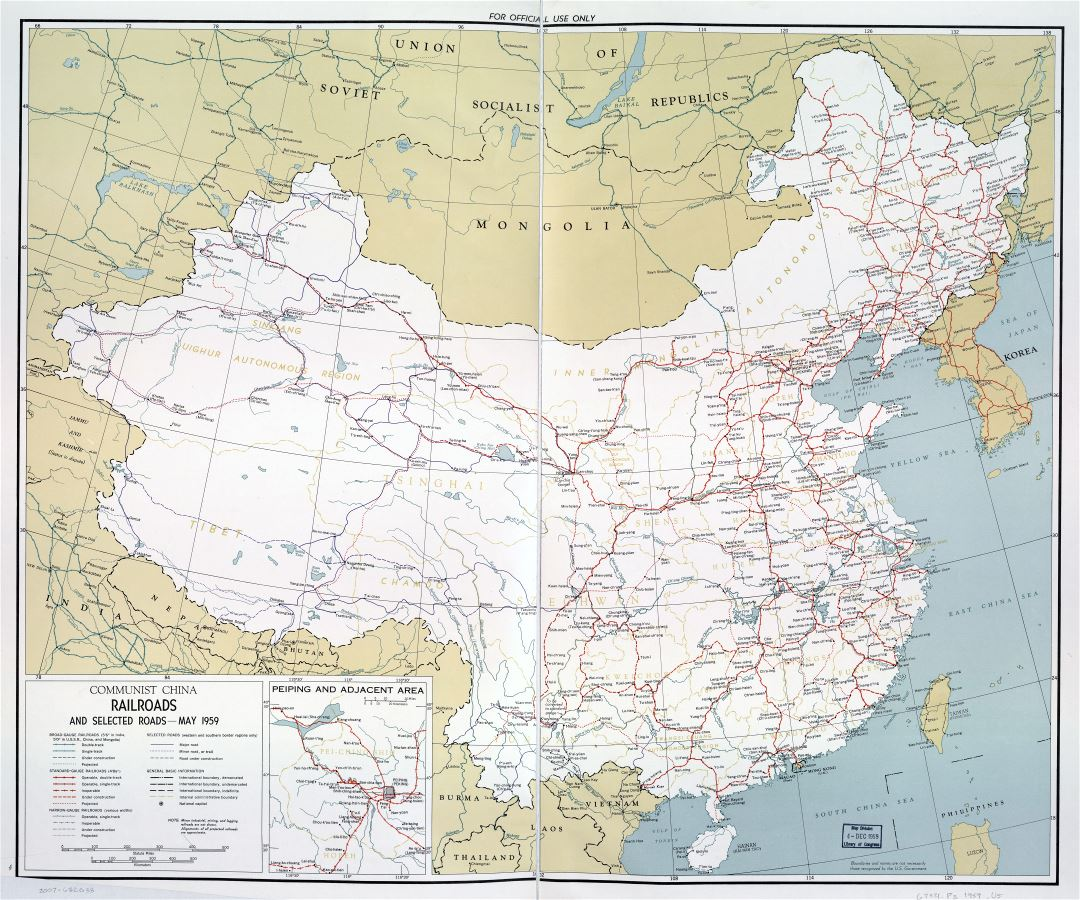 Large scale detailed railroads map of Communist China - 1959