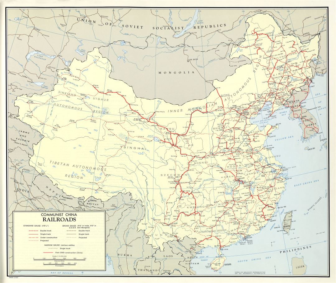 Large scale detailed railroads map of Communist China - 1967